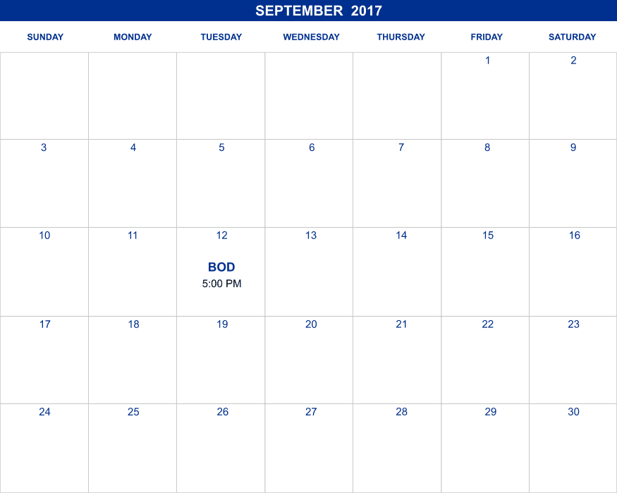September 2017 Calendar | Laughlin Heritage Foundation, Incorporated | Del Rio, Texas | (830) 719-9380