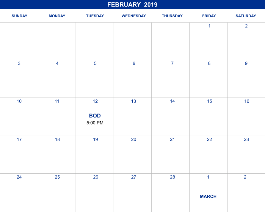 February 2019 Calendar  |  laughlinheritagefoundationinc.org